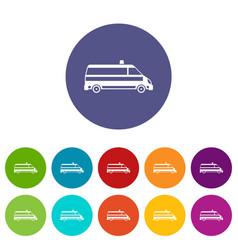Ambulance car set icons vector