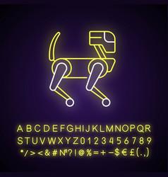 animal like robot neon light icon vector image