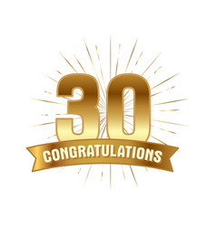 anniversary golden thirty years number vector image
