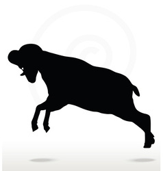 Big horn sheep silhouette in attacking pose vector