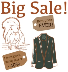 Big Sale with squirrel and jacket vector image