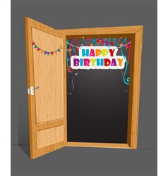 Birthday Birthday surprise with open door vector