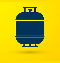 Blue propane gas tank icon isolated on yellow vector