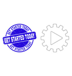 Blue scratched get started today stamp seal and vector
