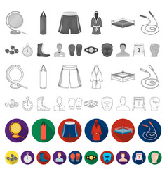 boxing extreme sports flat icons in set collection vector image