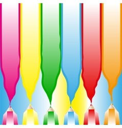 Bright color background with colored pencils vector