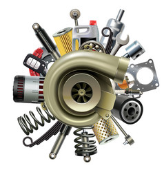 Car parts with turbocharger vector