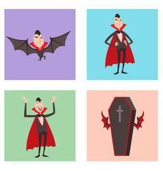 Cartoon dracula symbols vampire icons vector
