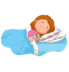 Cartoon girl sleeping with stuffed bear vector