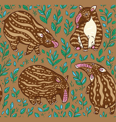 cartoon tapirs seamless pattern brown tapirs with vector image