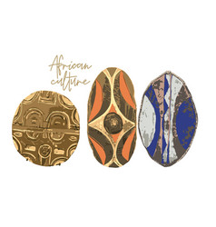 Collection african woodenn military shields vector
