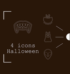 collection of 4 halloween icons in thin line style vector image
