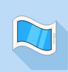 Curved plastic window icon flat style vector