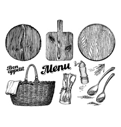 Cutting or chopping board wicker basket vector