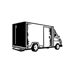 delivery van viewed from rear retro woodcut black vector image