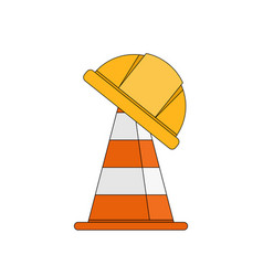 Design cone and safety helmet cartoon vector