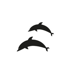dolphins black icons vector image