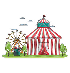 Doodle funny circus with carnival shop and games vector