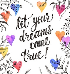 Dreams come true greeting card vector