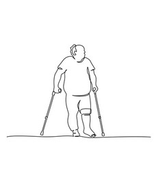 Elderly overweight man walking with crutches one vector