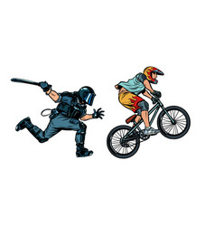 Extreme sports cyclist riot police with a baton vector