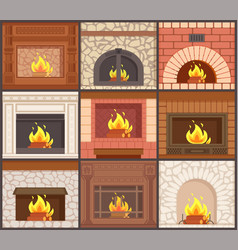 Fireplaces set different shapes types of stoves vector