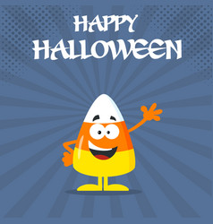 Funny candy corn flat design waving vector