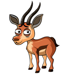 Gazelle with sad face on white background vector