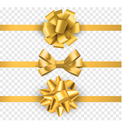 gold gift bows with ribbons realistic horizontal vector image