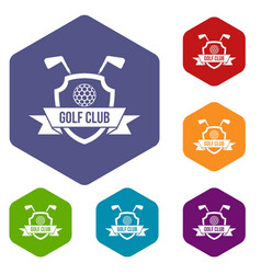 Golf club emblem icons set hexagon vector