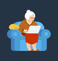 Grandmother and laptop an armchair old woman and vector