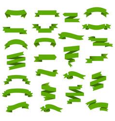 green web ribbon big set vector image