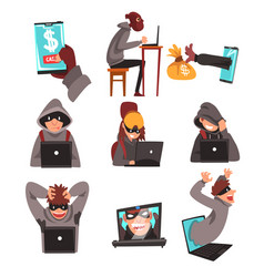 hackers in disguise stealing information and money vector image