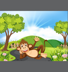 happy monkey laying on the road vector image