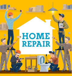 house repair and construction workers work tools vector image