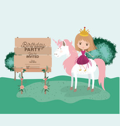 Invited birthday party card with unicorn and vector