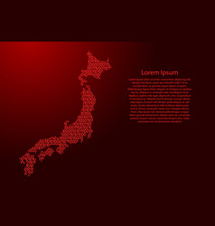 japan map abstract schematic from red ones and vector image
