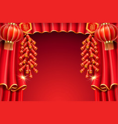 lanterns and curtainfireworks for chinese holiday vector image