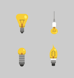 Light bulb and lamp set in cartoon style main vector
