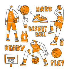 lined set basketball - basketball vector image