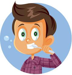 little boy brushing his teeth cartoon vector image