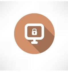 lock at the computer monitor vector image