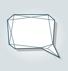 low polygon blue speech talk balloon diamond vector image