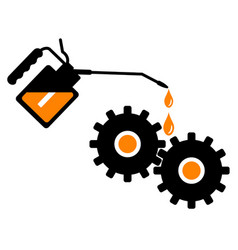 Lubrication gears with an oil can vector