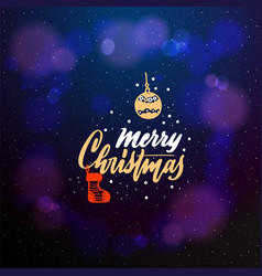 merry christmas typographic emblem logo vector image