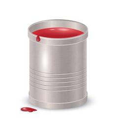 Metallic textured bucket with red paint vector