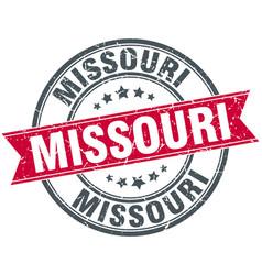 Missouri red round grunge vintage ribbon stamp vector