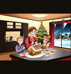 Mother and kids making gingerbread house vector