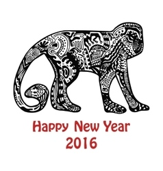 New Year card with hand-drawn monkey vector