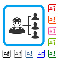 Officer subordinates framed pitiful icon vector